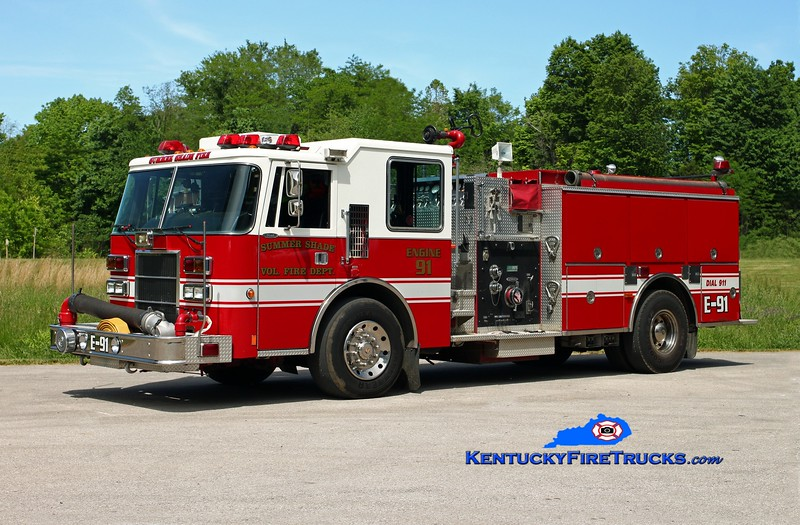 <center> Summer Shade  Engine 91 <br> x-Clay Twp, IN <br> 1993 Pierce Dash/RPI 1250/1000 <br> Kent Parrish photo </center>