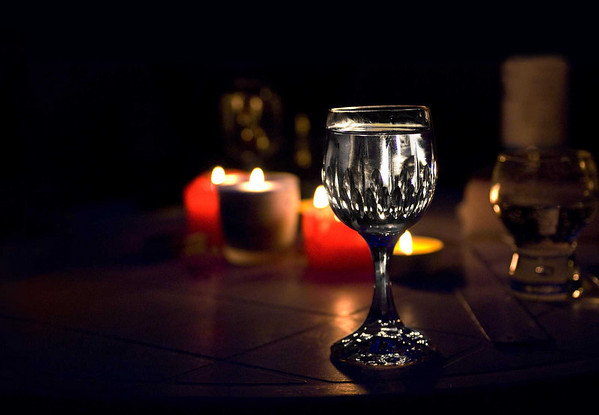 Wine glass with candlelight<br /> <br /> P192