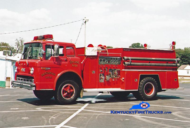 <center> Fountain Run  Engine 104 <br> 1981 Ford C-7000/FMC 1000/750 <br> Kent Parrish photo </center>