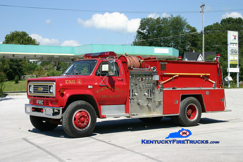 <center> Tompkinsville  Engine 4 <br> 1983 Chevy C70/FMC-Bean 1000/1000 <br> Kent Parrish photo </center>