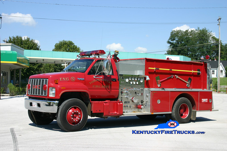 <center> Tompkinsville  Engine 5 <br> 1990 GMC Topkick/Quality 1250/1000 <br> Kent Parrish photo </center>