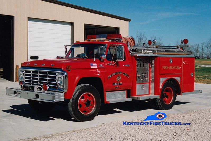 <center> RETIRED <br> Montgomery County  Engine 10 <br> x-Mt Sterling, KY <br> 1975 Ford F-600/E-One 450/300 <br> Greg Stapleton photo </center>