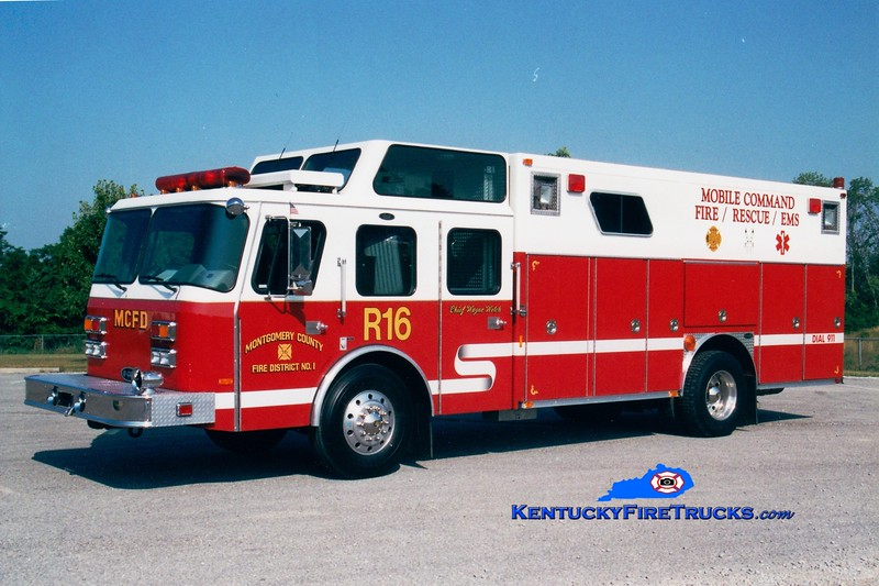 <center> RETIRED <br> Montgomery County  Rescue 16 <br> x-Los Alamos National Laboratory, NM <br> 1993 E-One Hush  <br> Greg Stapleton photo </center>