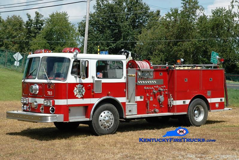 <center> Blackwater  Engine 703 <br> x-Cincinnati, OH; Ashland, KY <br> 1986 Seagrave HB 1500/500<br> Greg Stapleton photo </center>