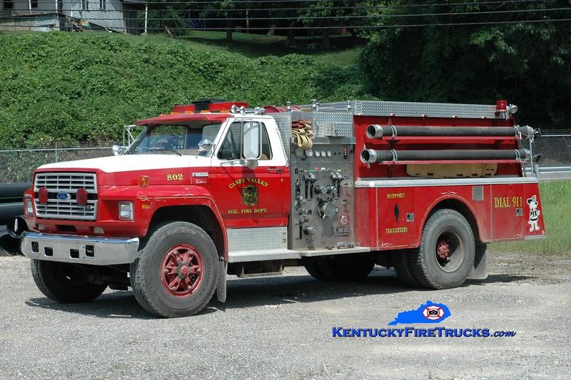 <center> Caney Valley  Engine 802 <br> x-Denbo Vista 6, PA <br> 1987 Ford F-8000/KME 1000/1000 <br> Greg Stapleton photo </center>