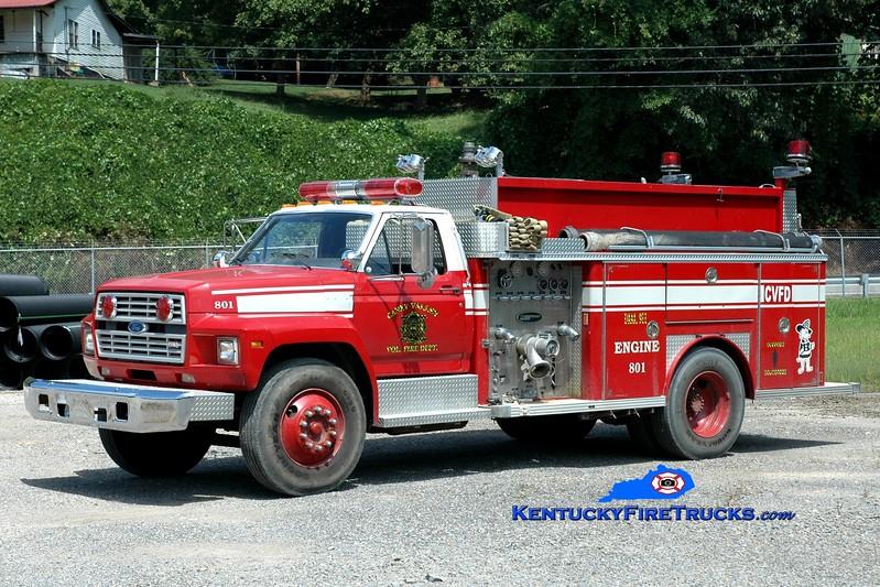 <center> Caney Valley  Engine 801 <br> x-Sarasota County, FL <br> 1985 Ford F/E-One 750/500 <br> Greg Stapleton photo </center>