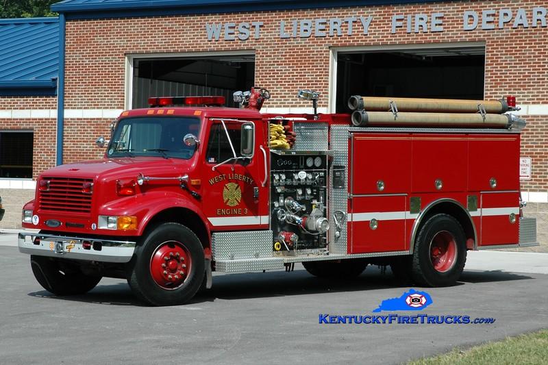 <center> West Liberty  Engine 3 <br> 1993 International 4900/Pierce 1250/1000 <br> Greg Stapleton photo </center>