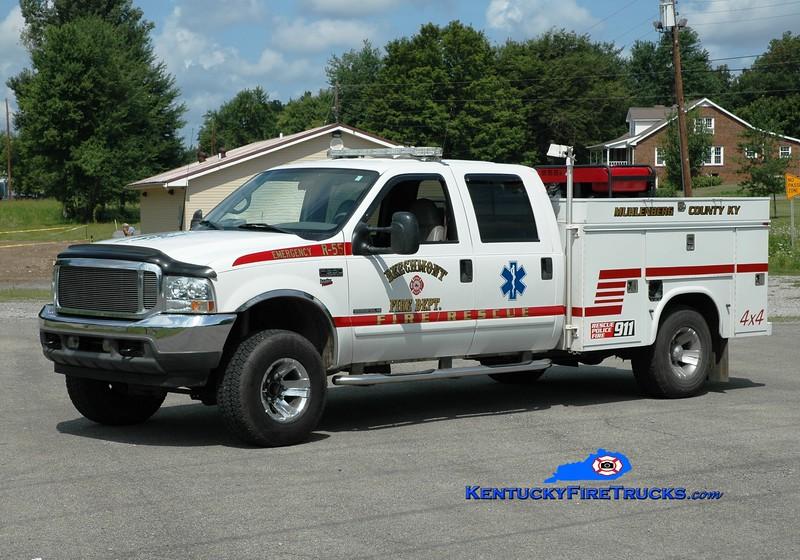 <center> Beechmont  Rescue 55  <br> 2009 Ford F-350 4x4/Knapheide  <br> Greg Stapleton photo </center>