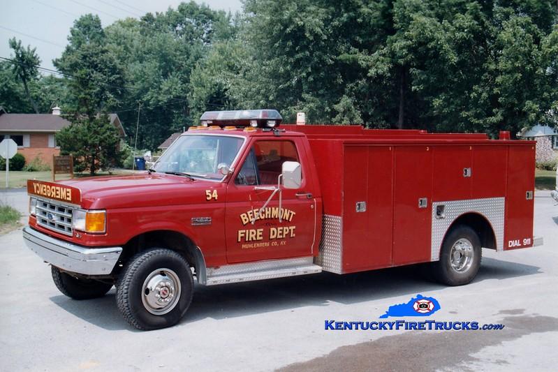 <center> Beechmont  Rescue 54  <br> 1988 Ford F-350/Knapheide  <br> Greg Stapleton photo </center>