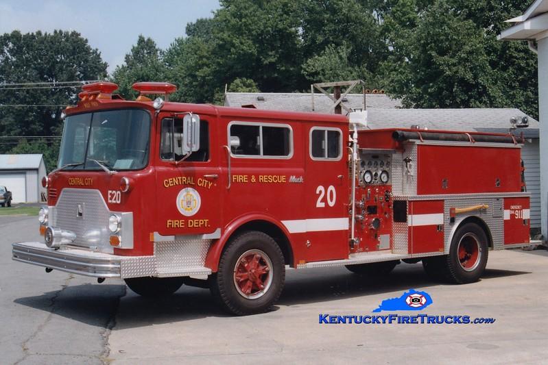 <center> RETIRED <br> Central City  Engine 20  <br> x-FDNY <br> 1980 Mack/1993 Panama Fire  1000/1000 <br> Greg Stapleton photo </center>