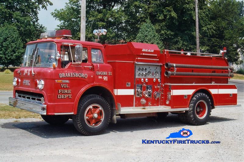 RETIRED<br /> Drakesboro  Engine 32<br /> 1978 Ford C/Bean-FMC 750/750<br /> Greg Stapleton photo
