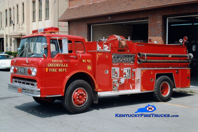 <center> RETIRED <br> Greenville  Engine 42  <br> 1985 Ford C/FMC 1000/750 <br> Greg Stapleton photo </center>
