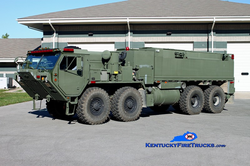 <center> The Kentucky National Guard is also assigned 3 identical HEMTT-based Water Tenders (HEWATT) <br> <br>  Engines 12, 13, and 14. <br> 2009 Oshkosh HEMTT M1158/Pierce 500/2500/50 <br> Kent Parrish photo </center>