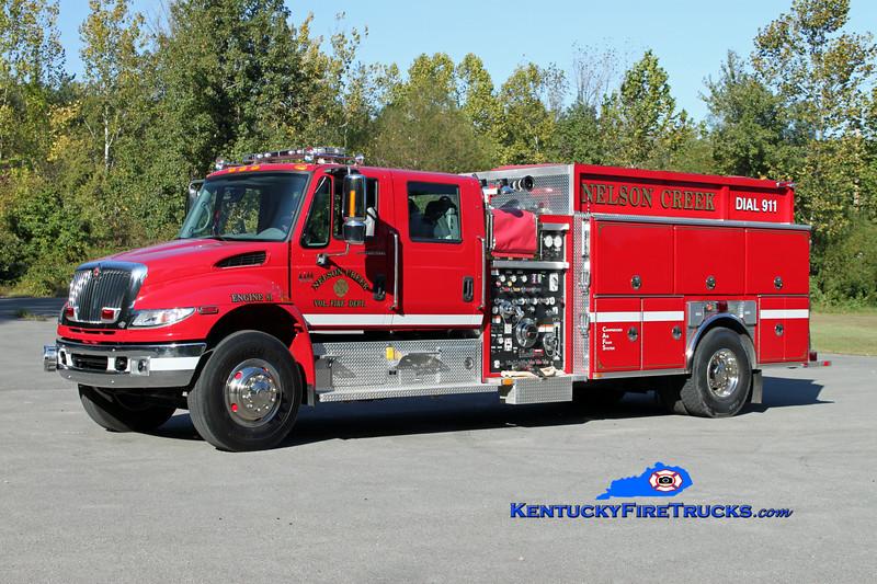 <center> Nelson Creek  Engine 81 <br> 2007 International 4400/Ferrara 1250/1500/CAFS-30 <br> Kent Parrish photo </center>