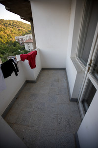 The terrace out front. Naturally I am drying some clothes in the cool evening air...