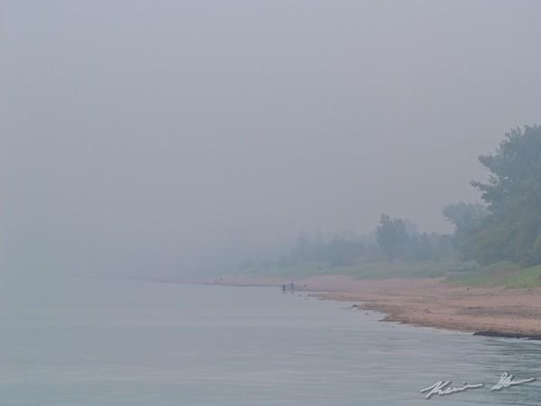 Fog covered shoreline of Minnesota Point.