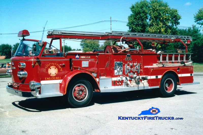 <center> RETIRED <br> Bardstown  Engine 31 <br> 1958 American LaFrance 900 Series 750/300 <br> Greg Stapleton photo </center>