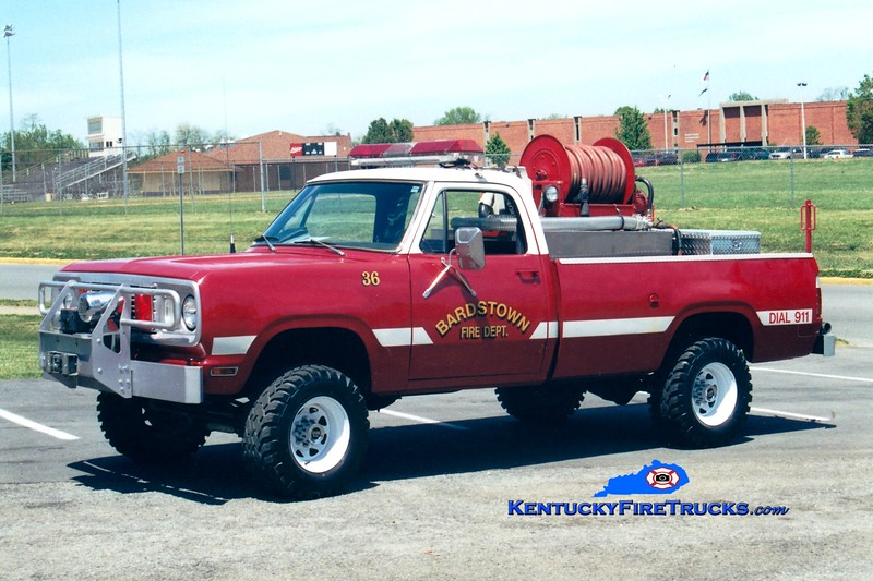 <center> RETIRED <br> Bardstown Brush 36 <br> 1977 Dodge W20 4x4 250/250 <br> Greg Stapleton photo </center>
