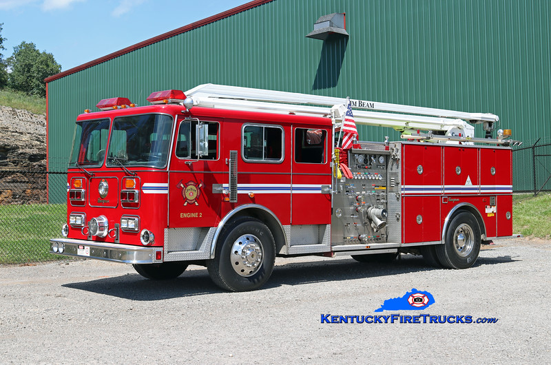 Jim Beam Booker Noe Plant Engine 2<br /> x-Highview, KY<br /> 1991 Seagrave 1500/500/54' Squrt <br /> Kent Parrish photo