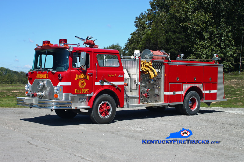 <center> RETIRED <br> Jim Beam Booker Noe Plant Engine 2 <br> x-Lyndon, KY <br> 1986 Mack CF/E-One 1500/500 <br> Kent Parrish photo </center>
