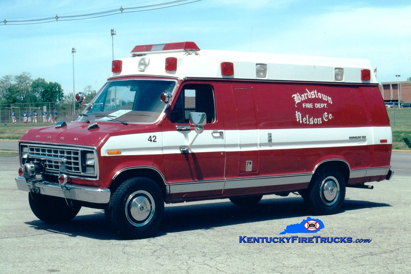 <center> RETIRED <br> Bardstown-Nelson County  Rescue 42 <br> 1981 Ford E-350 <br> Greg Stapleton photo </center>