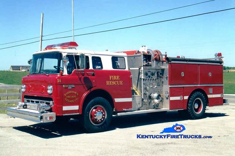 <center> RETIRED <br> Bardstown-Nelson County  Engine 34 <br> x-Cincinnati, OH <br> 1982 Ford C/Grumman 750/750 <br> Greg Stapleton photo </center>