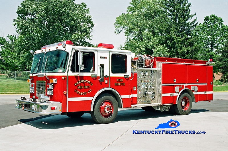 <center> Bardstown-Nelson County  Engine 34 <br> x-Engine 37 <br> 1995 Spartan/Ferrara Invader 1000/500/20 <br> Kent Parrish photo </center>