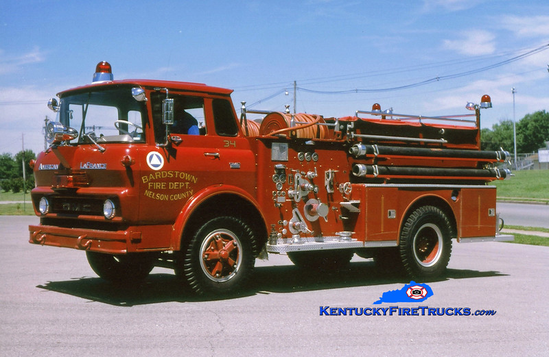 <center> RETIRED <br> Bardstown-Nelson County  Engine 34 <br> 1966 GMC/American LaFrance 1000/750 <br> Greg Stapleton photo </center>