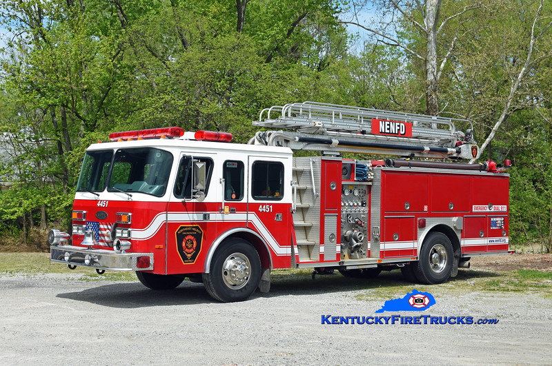 Northeast Nelson  Quint 4451<br /> x-Glasgow, KY<br /> 1993 E-One Hush 1500/500/50' Tele-Boom<br /> Kent Parrish photo