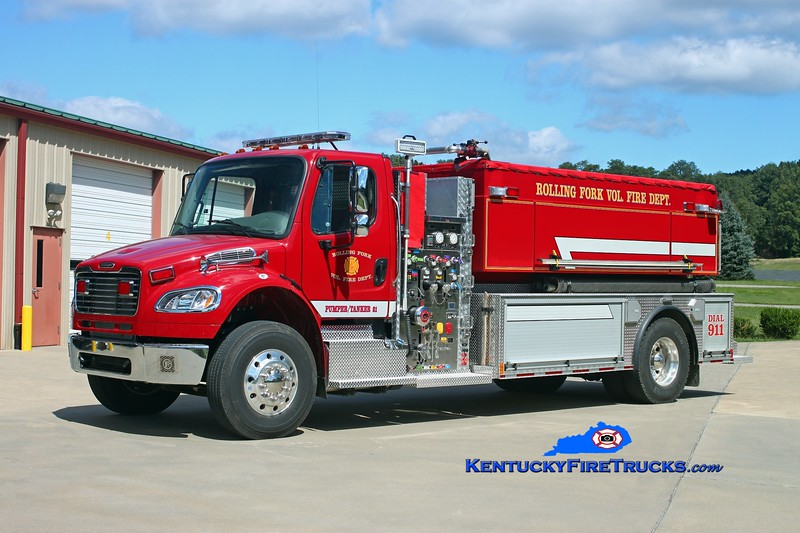 <center> Rolling Fork  Pumper-Tanker 21 <br> 2013 Freightliner M2-106/Freedom Fire 1000/2000 <br> Kent Parrish photo </center>