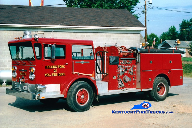<center> RETIRED <br> Rolling Fork  Engine 21 <br> x-Lake Dreamland, KY <br> 1973 American LaFrance Pioneer II 1250/750 <br> Greg Stapleton photo </center>