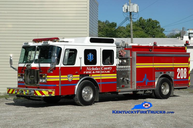 <center> Nicholas County  Engine 208 <br> x-St. Matthews, KY <br> 1994 E-One Cyclone TC 1500/500 <br> Greg Stapleton photo <br> </center>