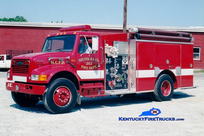<center> Nicholas County  Engine 202 <br> 1999 International 4900/Pierce 1250/1000  <br> Greg Stapleton photo <br> </center>