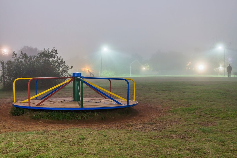 Foggy Park at Night
