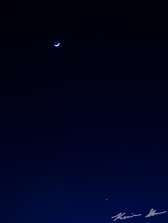 The moon and Venus in the late evening sky