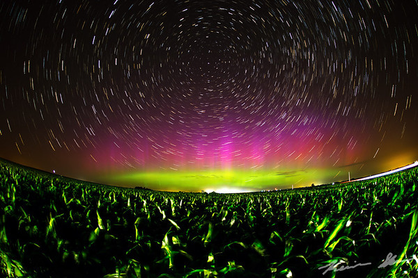 Star trail time lapse with the exploding aurora banner