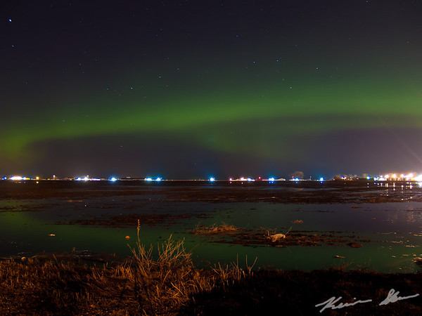An early spring aurora across the North Dakota landscape