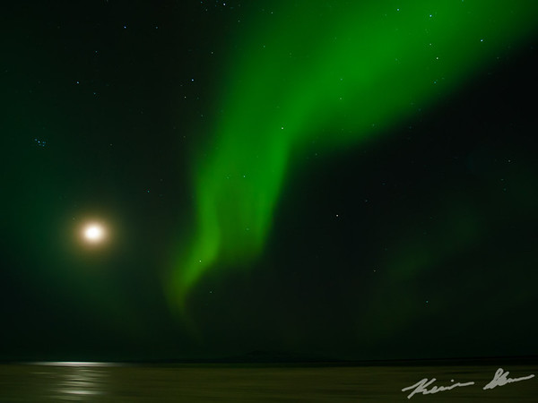 Evening aurora outbreak from Point Woronzof with the setting moon