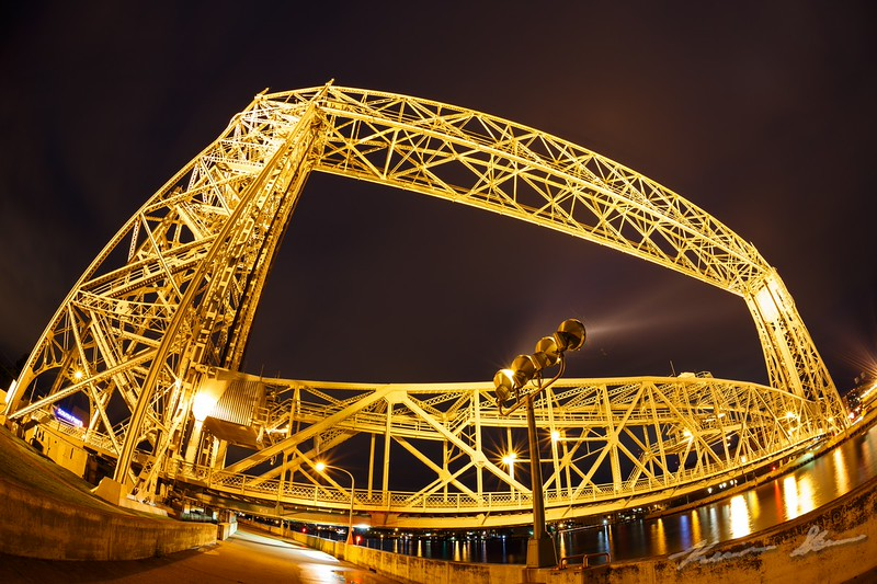 Wide angle close-ups of the Aerial Lift Bridge as cloud ceilings begin to lower