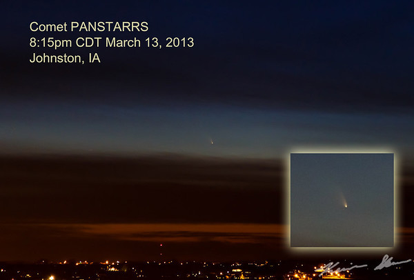 Comet PANSTARRS glows faintly in the western sky at dusk