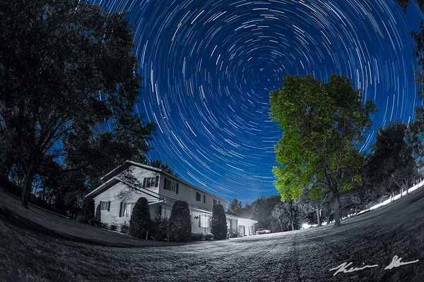 Star trail over grandma's house