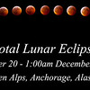 Photo collage of the moon going a total lunar eclipse from start to finish, a total of 3.5 hours. Taken from Flattop Mountain