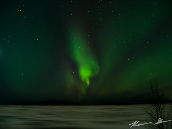 Evening aurora outbreak from Point Woronzof, looking out over a frozen Cook Inlet