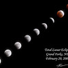 Photo collage of the moon going through the first half of a total lunar eclipse