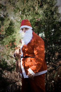 Santa was hiding in the bushes...  I found him!