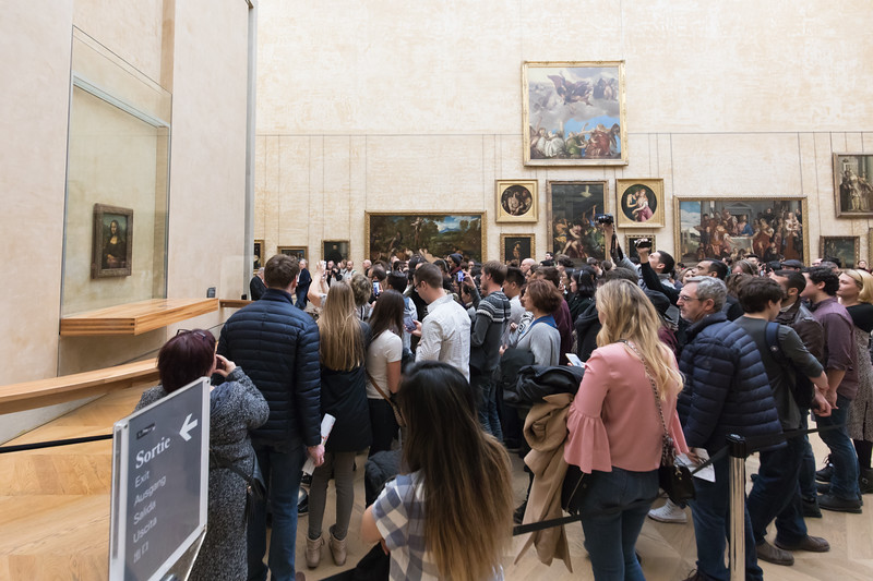 The Rush to Photograph the Mona Lisa by Tourists, Louvre Museum, Paris, France