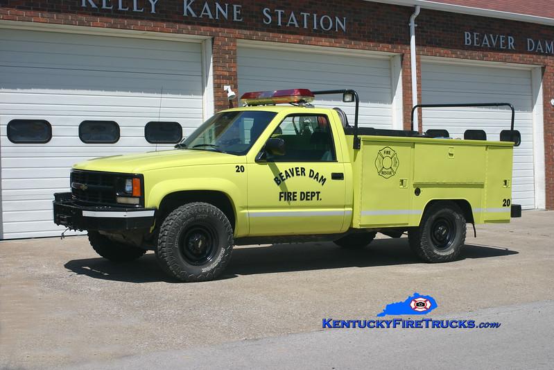 <center> Beaver Dam  Brush 20 <br> 1992 Chevy 1500 4x4/Knapheide/WSF 250/250 <br> Kent Parrish photo </center>
