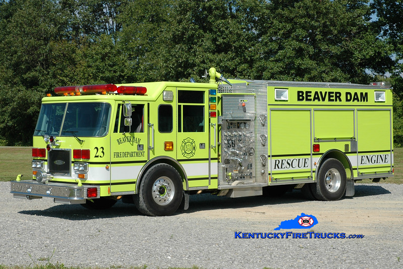 <center> Beaver Dam  Engine 23 <br> x-Palm Beach Gardens, FL <br> 1999 Pierce Arrow/1990 Pierce Javelin 1250/750/50 <br> Greg Stapleton photo </center>