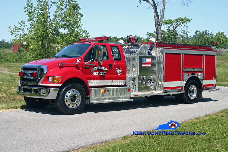 <center> Centertown  Engine 97 <br> 2006 Ford F-750/American (Bowling Green, KY) 1250/1000 <br> Kent Parrish photo  </center>