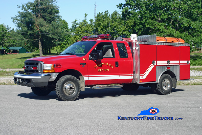 <center> Fordsville  Rescue 65 <br> 1999 Ford F-350 4x4/Danko 250/250 <br> Kent Parrish photo </center>